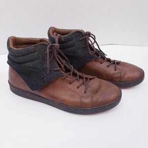 Aldo laceup cuff down boots brown leather Sz9
